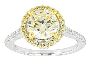 Pre-Owned Yellow And White Cubic Zirconia Rhodium Over Silver & 18k Yg Over Silver Ring 3.99ctw