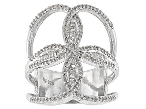Pre-Owned Rhodium Over Sterling Silver Diamond Ring .70ctw
