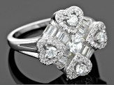 Pre-Owned White Cubic Zirconia Rhodium Over Silver Ring 2.81ctw