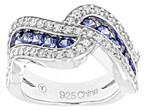 Pre-Owned Blue And White Cubic Zirconia Rhodium Over Silver Ring 2.40ctw