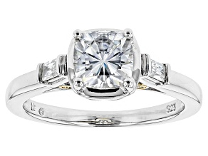 Pre-Owned Moissanite Ring Platineve™ With 14k Yellow Gold Accent Over 1.48ctw DEW