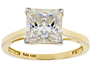 Pre-Owned Moissanite 14k Yellow Gold Ring 2.80ct DEW.