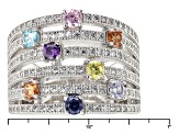 Pre-Owned White Blue Brown Purple Pink And Yellow Cubic Zirconia Rhodium Over Silver Ring 2.50ctw