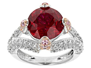 Pre-Owned Lab Created Ruby, Pink And White Diamond Simulant Ring 9.10ctw