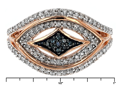 Pre-Owned 18k Rose Gold Over Silver Blue And White Diamond Ring .40ctw