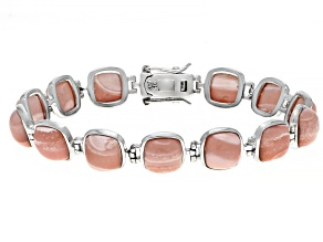 Pre-Owned Pink Mookaite Rhodium Over Sterling Silver Bracelet
