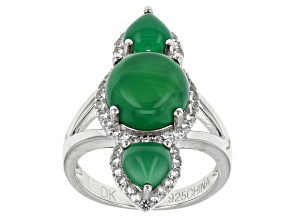 Pre-Owned Green Onyx Sterling Silver Ring. .44ctw