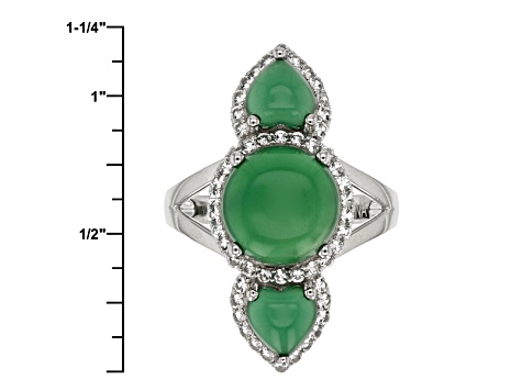 Pre-Owned Green Onyx Sterling Silver Pendant With Chain .44ctw