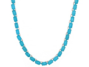 Pre-Owned Blue Turquoise Rhodium Over Silver Tennis Necklace