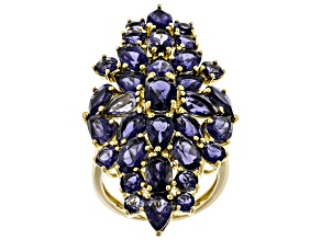 Pre-Owned Blue iolite 18k yellow gold over silver ring 8.00ctw