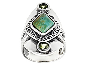 Pre-Owned Green Alicia Turquoise Silver Ring 1.50ctw