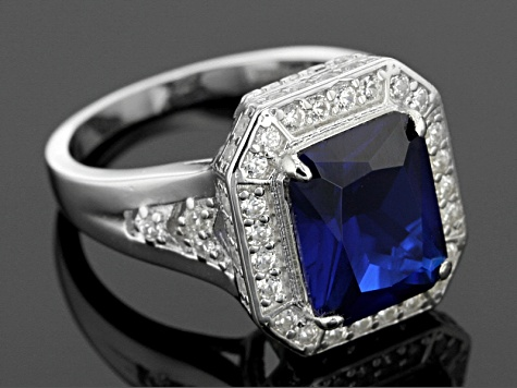 Pre-Owned Blue Lab Created Spinel And White Zircon Sterling Silver Ring 5.13ctw