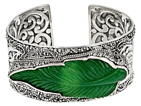 Pre-Owned Green Quartz Sterling Silver Cuff Bracelet