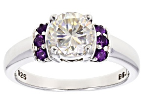 Pre-Owned Fabulite Strontium Titanate And African Amethyst Rhodium Over Silver Ring 2.19ctw