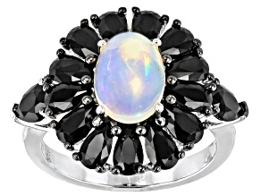 Pre-Owned White Opal Rhodium Over Sterling Silver Ring 2.00ctw