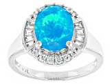 Pre-Owned Blue Ethiopian Opal Sterling Silver Ring 1.72ctw