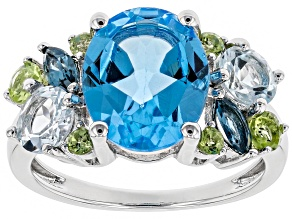 Pre-Owned Blue topaz rhodium over silver ring 5.55ctw