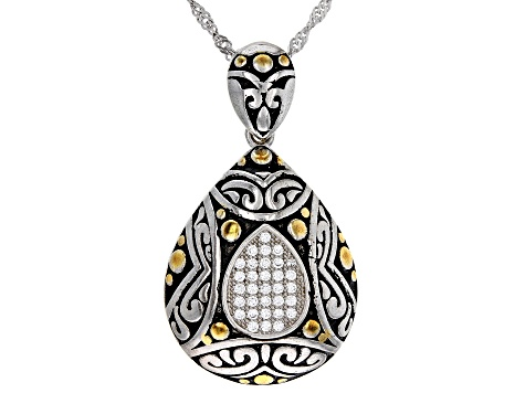 Pre-Owned White Cubic Zirconia Rhodium Over Sterling Silver Pendant With Chain 0.32ctw