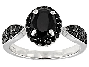 Pre-Owned Black Spinel Rhodium Over Sterling Silver Ring 1.82ctw