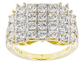 Pre-Owned White Cubic Zirconia 18k Yellow Gold Over Silver Ring 3.90ctw