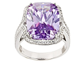 Pre-Owned Purple And White Cubic Zirconia Silver Ring 19.40ctw.