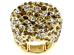 Pre-Owned Multicolor Crystal Gold Tone Stretch Ring