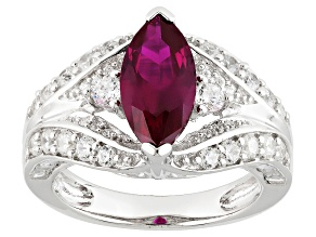 Pre-Owned Lab Created Ruby And White Cubic Zirconia Rhodium Over Silver Ring 5.53ctw