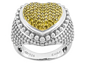 Pre-Owned Yellow Diamond Sterling Silver Ring .50ctw