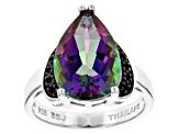 Pre-Owned Green Multicolor Quartz Sterling Silver Ring 4.63ctw