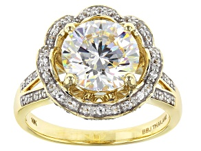 Pre-Owned White Fabulite Strontium Titanate And White Zircon 10k Yellow Gold Ring 3.97ctw