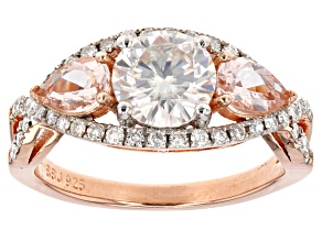 Pre-Owned Moissanite Fire™ 1.60ctw DEW With .66ctw Morganite 14k Rose Gold Over Sterling Silver Ring