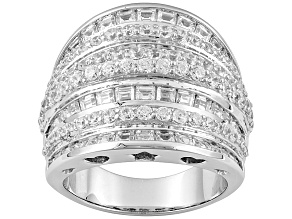 Pre-Owned rhodium plated sterling silver cubic zirconia ring 5.17ctw