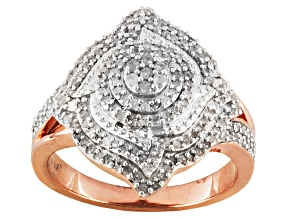 Pre-Owned White Diamond 14k Rose Gold Over Silver Ring .55ctw