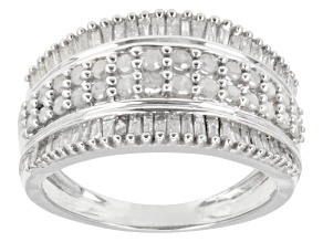Pre-Owned 1.00ctw Round & Baguette Diamond Rhodium Over Sterling Silver Ring