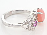 Pre-Owned Pink Peruvian Opal Sterling Silver Ring .13ctw