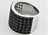 Pre-Owned Black Spinel Sterling Silver Band Ring 4.32ctw