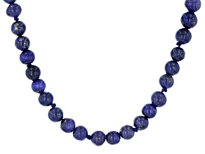 Pre-Owned Blue Lapis Lazuli Bead Rhodium Over Sterling Silver Necklace