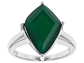 Pre-Owned Green Onyx Sterling Silver Ring.