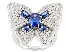 Pre-Owned Blue And White Cubic Zirconia Silver Ring 5.80ctw