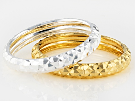 Pre-Owned  Sterling Silver and 18K Yellow Gold Over Sterling Silver 4mm Set Of 2 Diamond Cut Bands