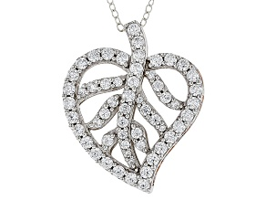 Pre-Owned White Cubic Zirconia Rhodium Over Silver & 18k Rose Gold Over Silver Pendant 3.02ctw