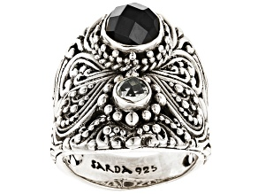Pre-Owned Black Spinel And White Topaz Sterling Silver Ring .90ctw