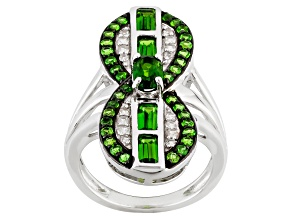 Pre-Owned Green Russian Chrome Diopside And White Zircon Sterling Silver Ring 2.08ctw