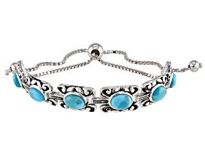 Pre-Owned Blue turquoise rhodium over sterling silver bolo bracelet