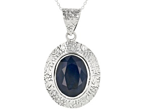 Pre-Owned Blue Sapphire Solitaire Sterling Silver Pendant With Chain 16.00ct