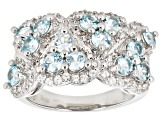 Pre-Owned Blue zircon rhodium over sterling silver ring 2.34ctw