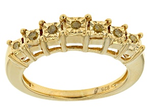 Pre-Owned 14k Yg Over Silver Yellow Diamond Ring .10ctw