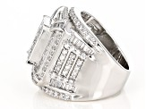 Pre-Owned White Cubic Zirconia Rhodium Over Sterling Silver Ring 6.73ctw