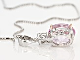 Pre-Owned Pink kunzite sterling silver pendant with chain 4.14ctw