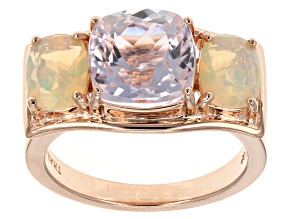 Pre-Owned Pink Kunzite And Ethiopian Opal 18k Rose Gold Over Sterling Silver 3-Stone Ring 3.60ctw